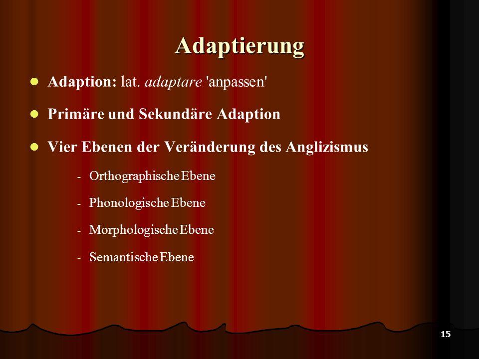 Adaptierung Adaption: lat. adaptare anpassen