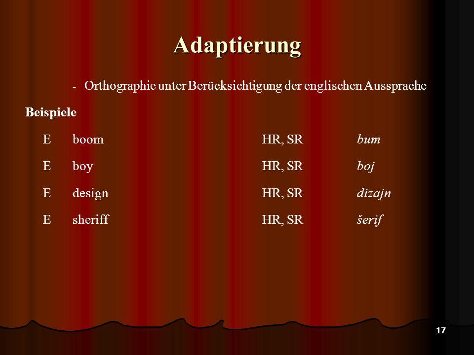 Adaptierung Orthographie unter Berücksichtigung der englischen Aussprache. Beispiele. E boom HR, SR bum.