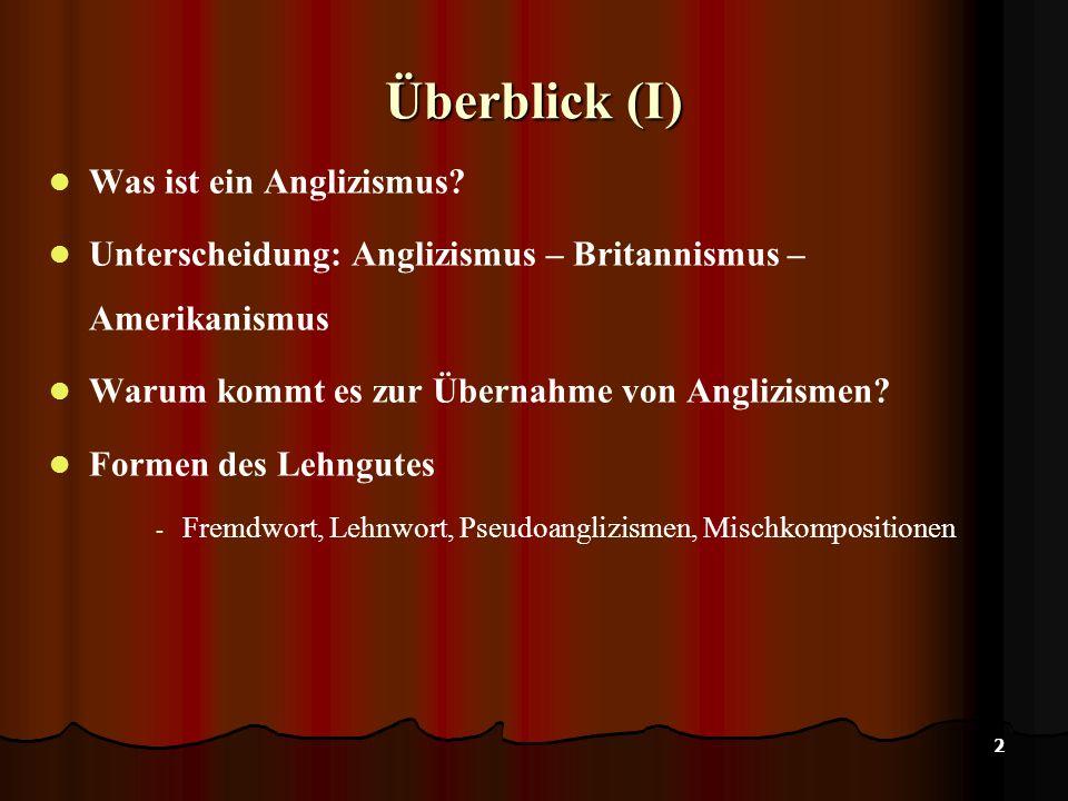 Überblick (I) Was ist ein Anglizismus
