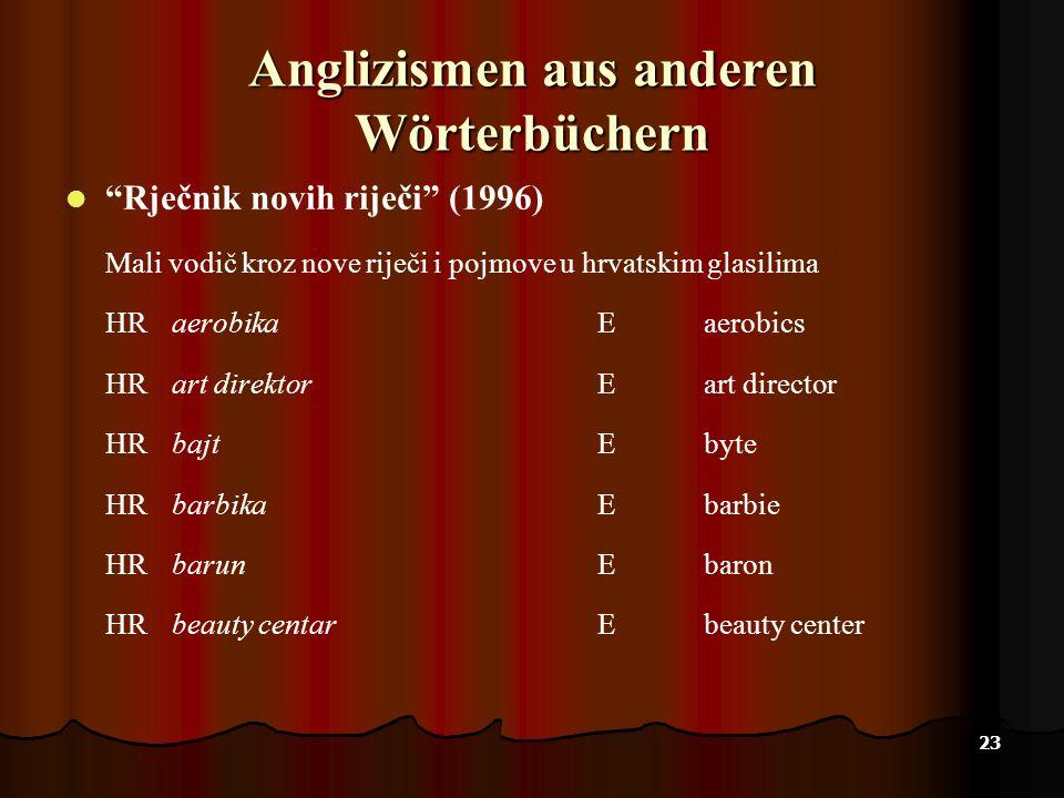 Anglizismen aus anderen Wörterbüchern