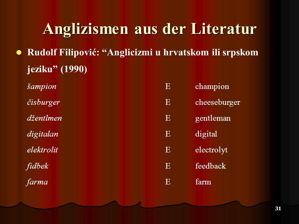 Anglizismen aus der Literatur