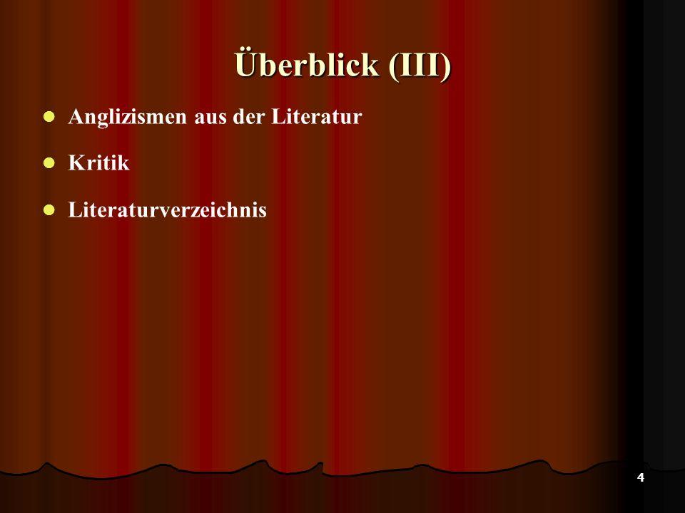 Überblick (III) Anglizismen aus der Literatur Kritik