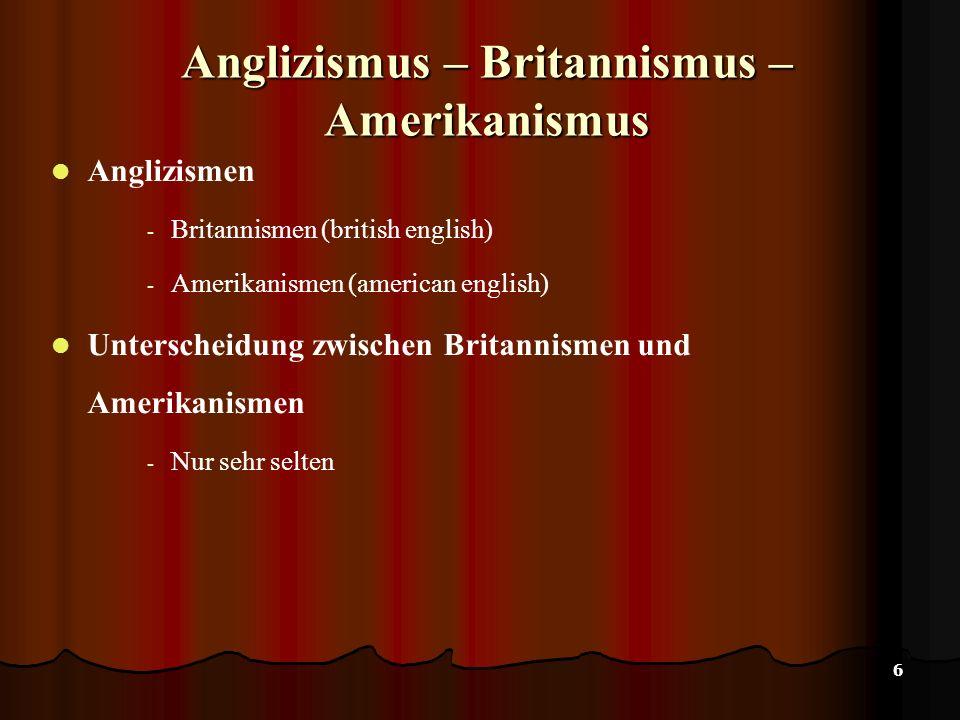 Anglizismus – Britannismus – Amerikanismus