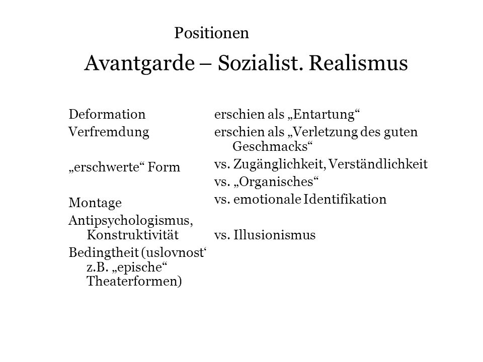 Avantgarde – Sozialist. Realismus