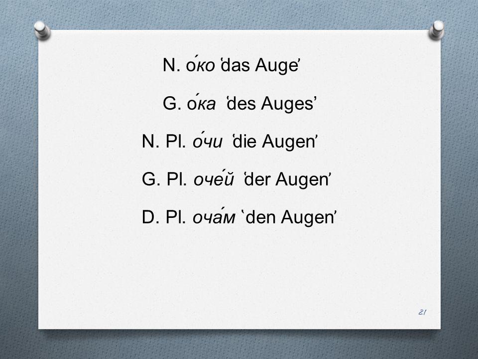 N. о́ко ̔das Auge̕ G. о́ка ̔des Auges' N. Pl.