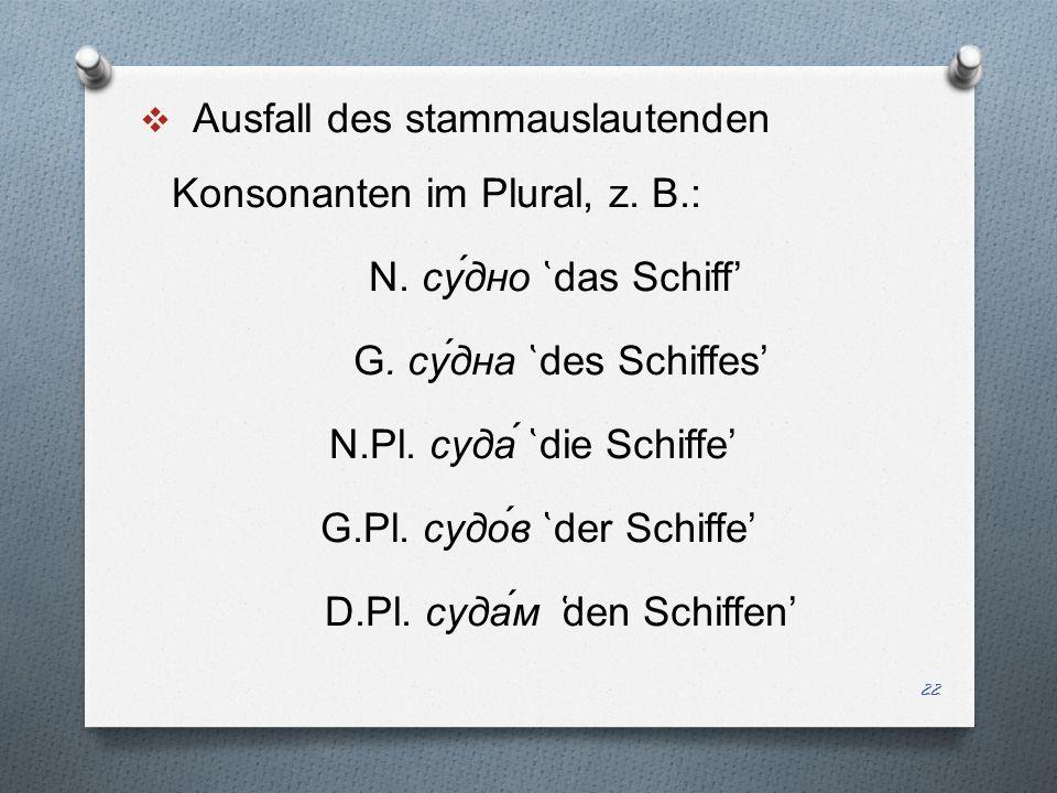 Ausfall des stammauslautenden Konsonanten im Plural, z. B.: