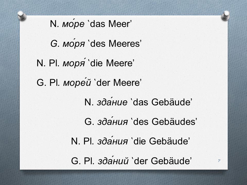 N. мо́ре ̔das Meer' G. мо́ря ̔des Meeres' N. Pl. моря́ ̔die Meere' G