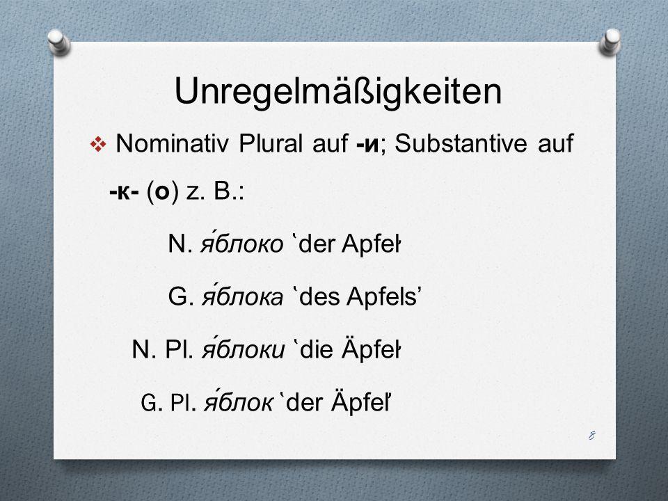 Unregelmäßigkeiten Nominativ Plural auf -и; Substantive auf -к- (о) z. B.: N. я́блоко ̔der Apfel̛̛