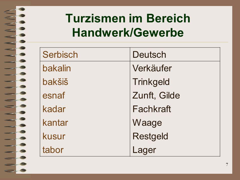 Turzismen im Bereich Handwerk/Gewerbe