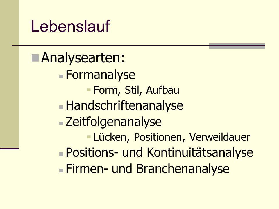 Lebenslauf Analysearten: Formanalyse Handschriftenanalyse