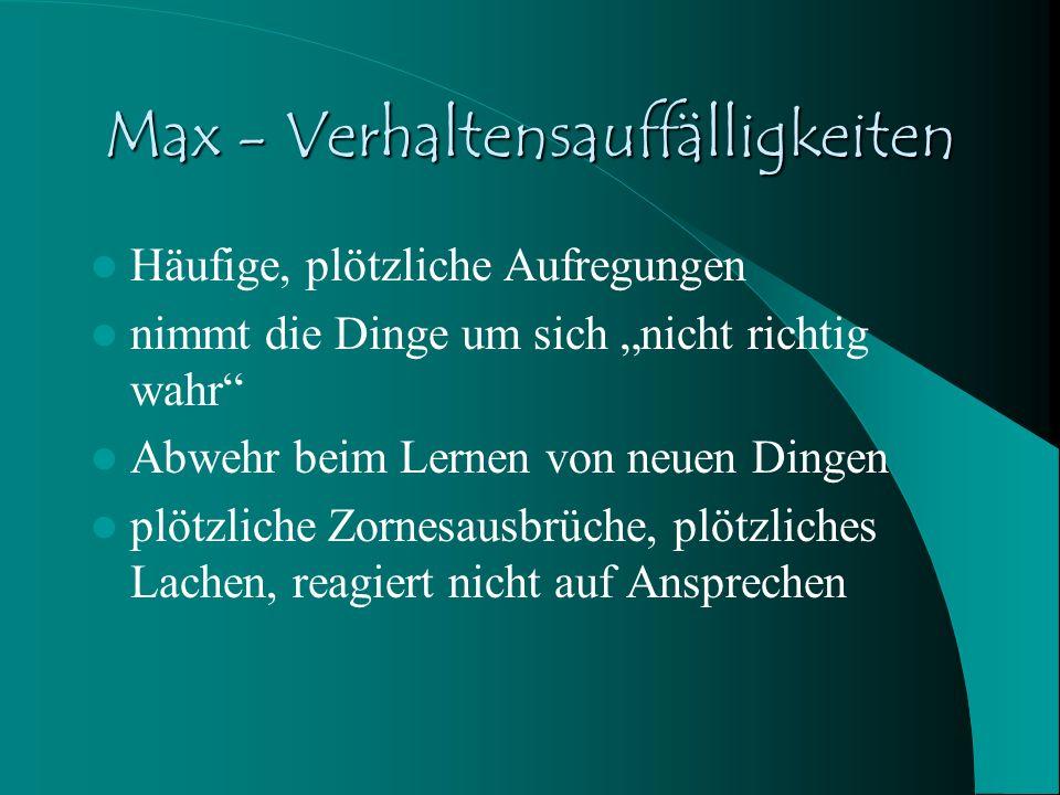 Max - Verhaltensauffälligkeiten