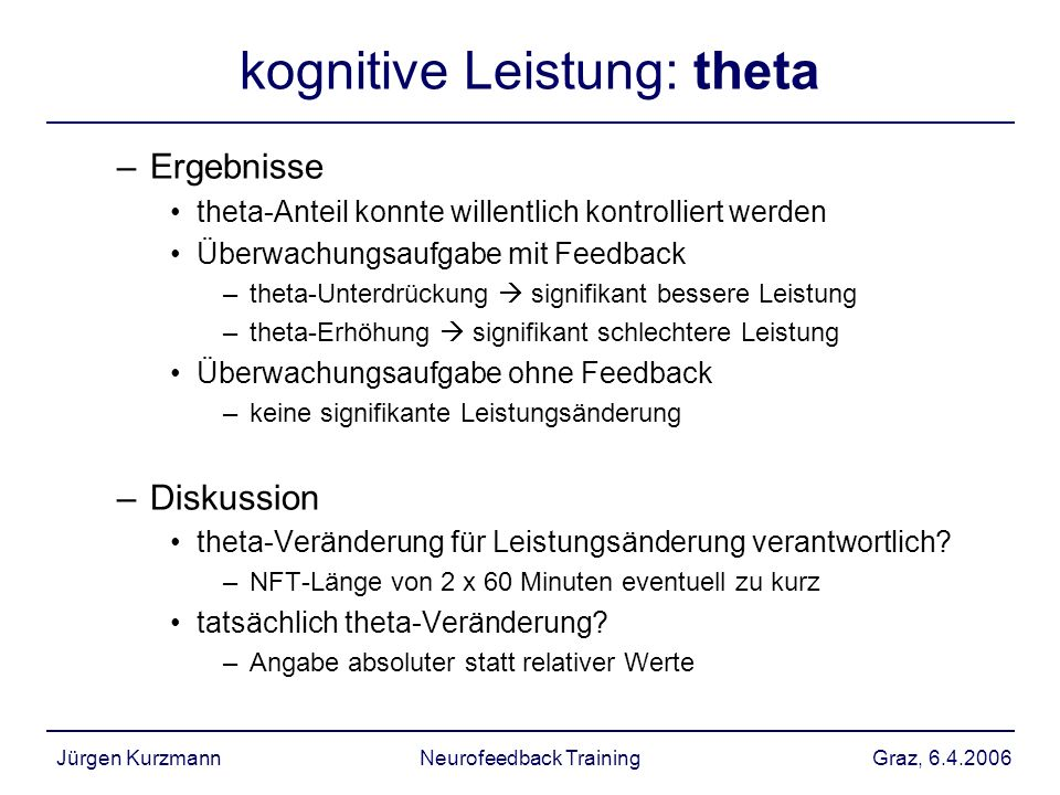 kognitive Leistung: theta