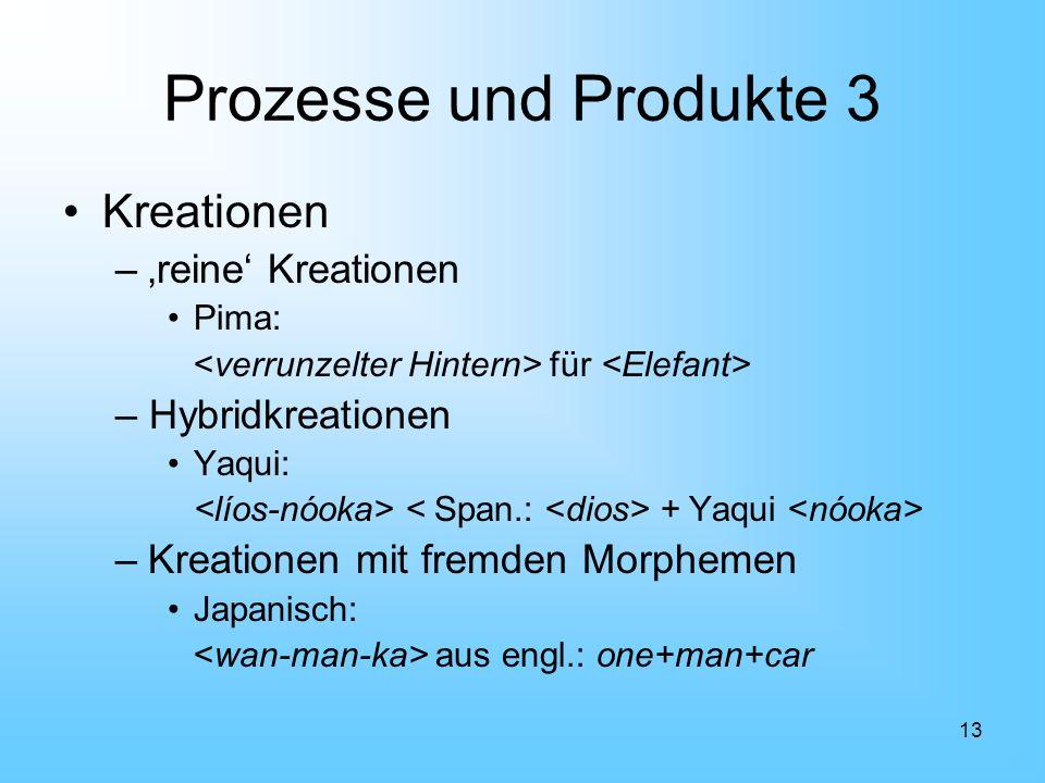 Prozesse und Produkte 3 Kreationen 'reine' Kreationen