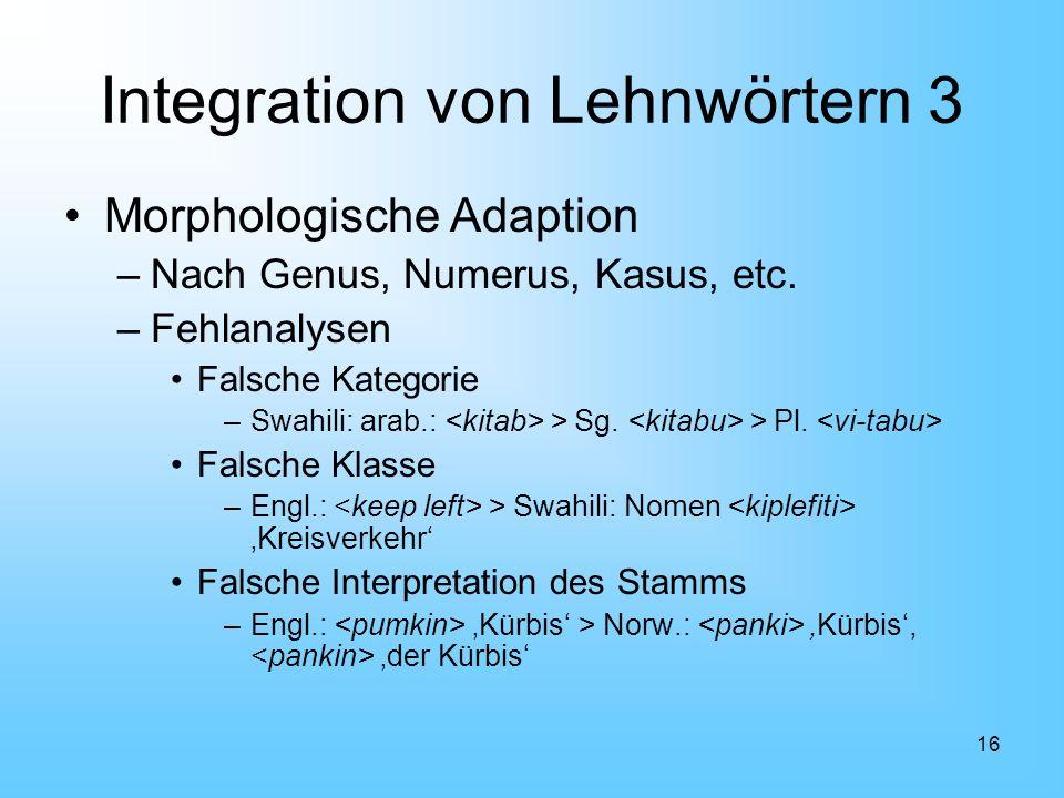 Integration von Lehnwörtern 3