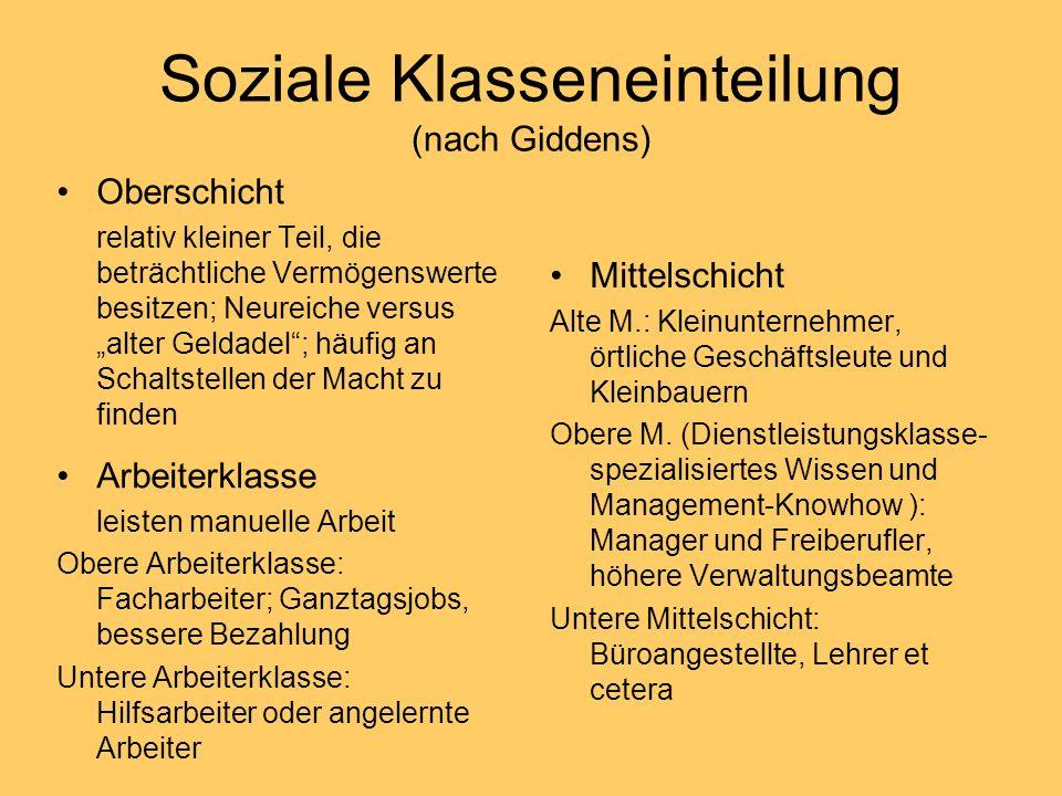 Soziale Klasseneinteilung (nach Giddens)