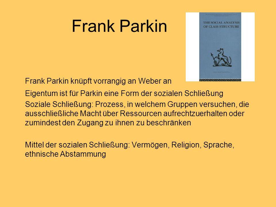 Frank Parkin Frank Parkin knüpft vorrangig an Weber an