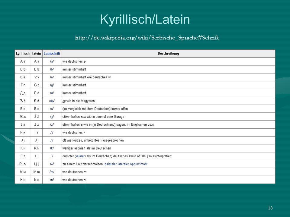 Kyrillisch/Latein http://de. wikipedia