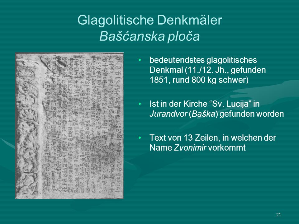 Glagolitische Denkmäler Bašćanska ploča