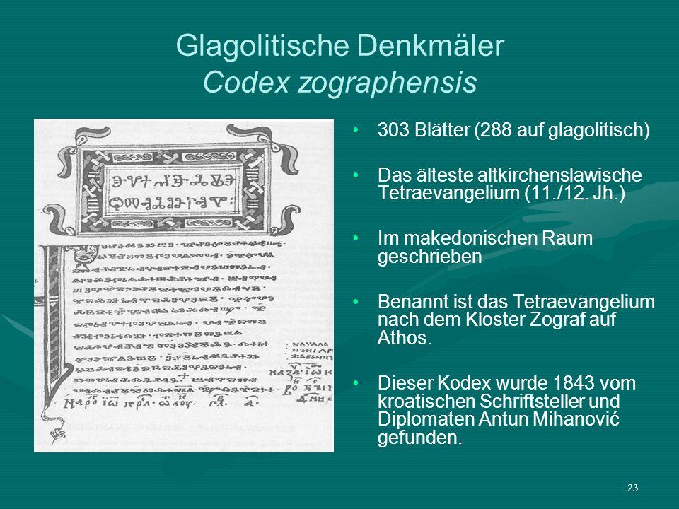 Glagolitische Denkmäler Codex zographensis