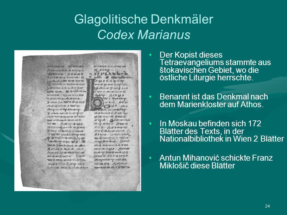 Glagolitische Denkmäler Codex Marianus
