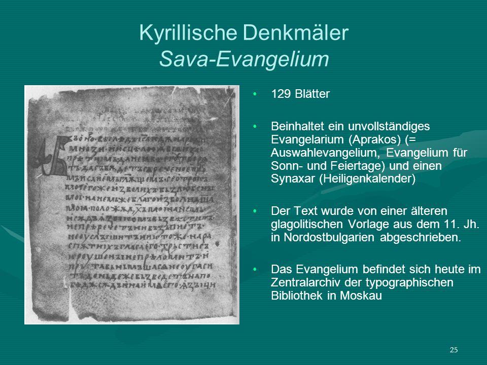 Kyrillische Denkmäler Sava-Evangelium