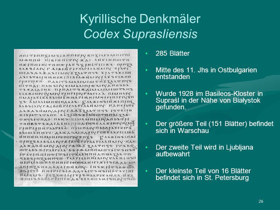 Kyrillische Denkmäler Codex Suprasliensis