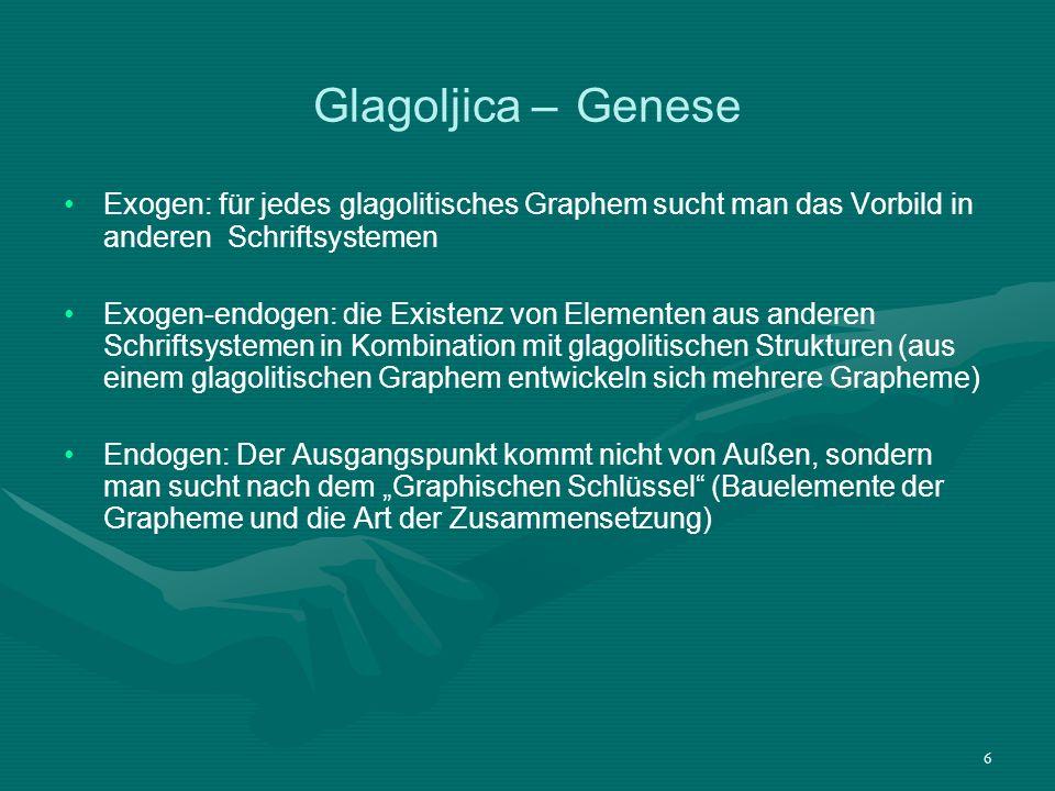 Glagoljica – Genese Exogen: für jedes glagolitisches Graphem sucht man das Vorbild in anderen Schriftsystemen.