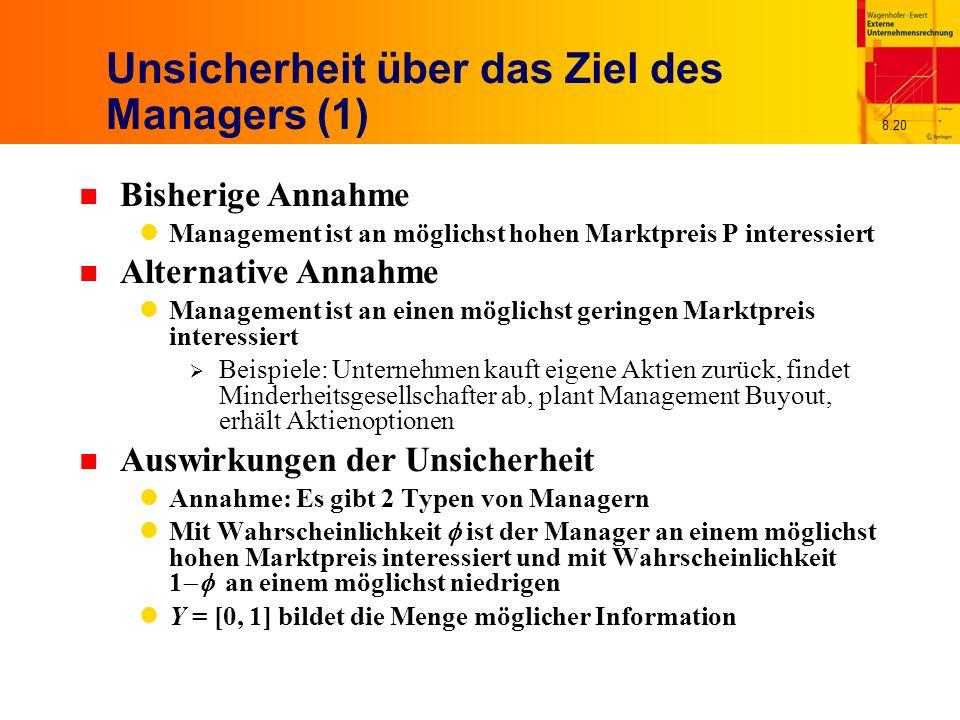 Unsicherheit über das Ziel des Managers (1)
