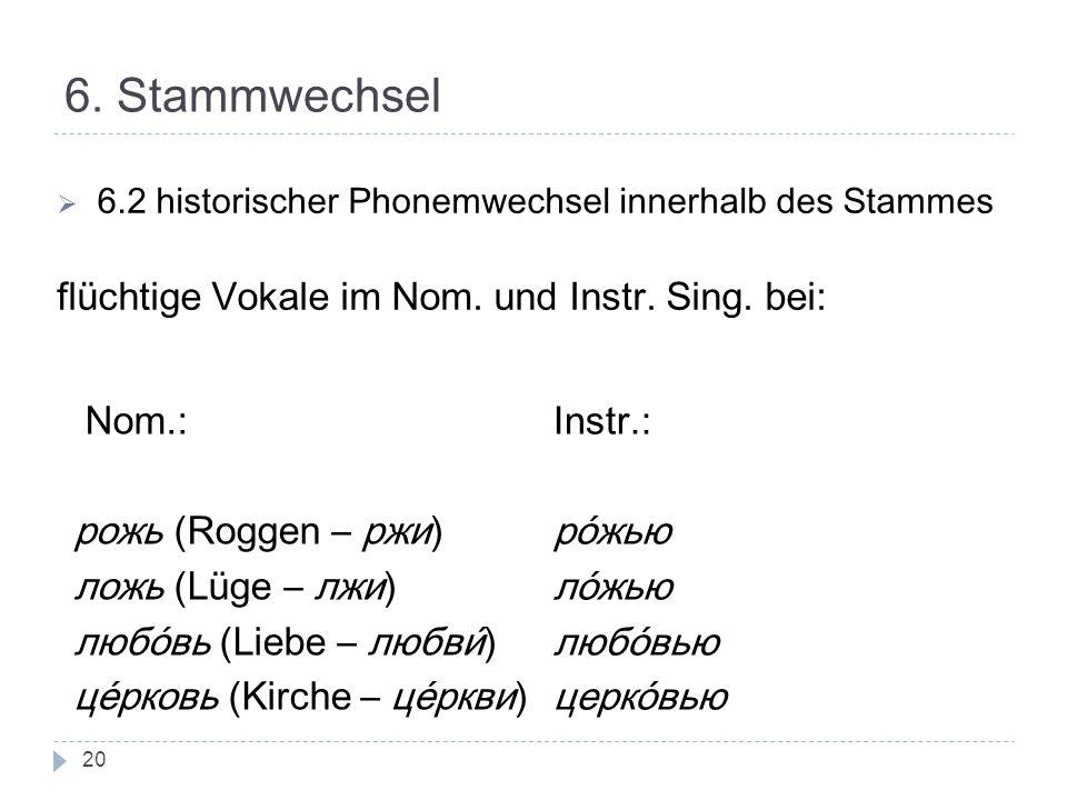 6. Stammwechsel flüchtige Vokale im Nom. und Instr. Sing. bei: