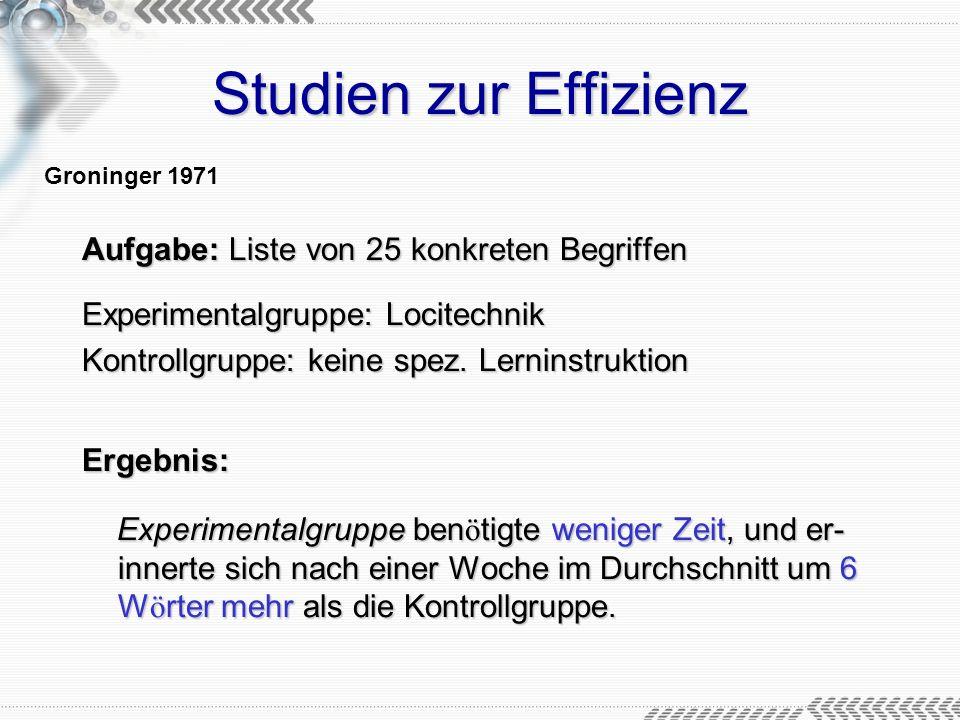 Studien zur Effizienz Aufgabe: Liste von 25 konkreten Begriffen