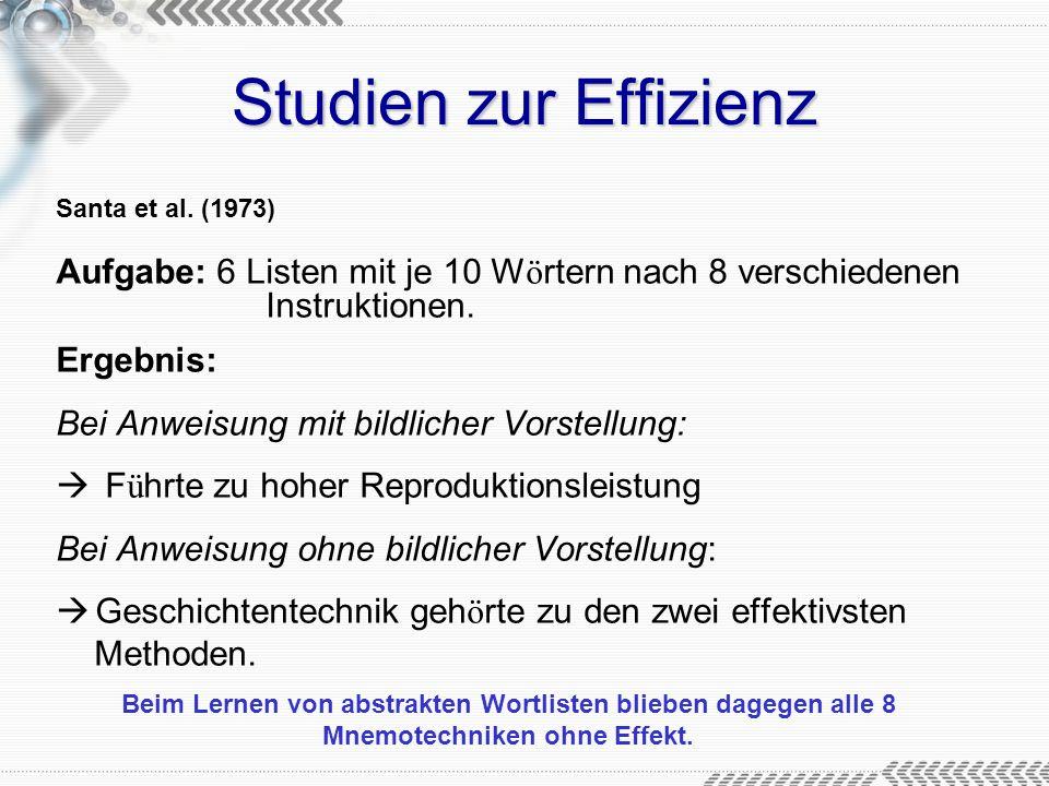Studien zur Effizienz Santa et al. (1973) Aufgabe: 6 Listen mit je 10 Wörtern nach 8 verschiedenen Instruktionen.