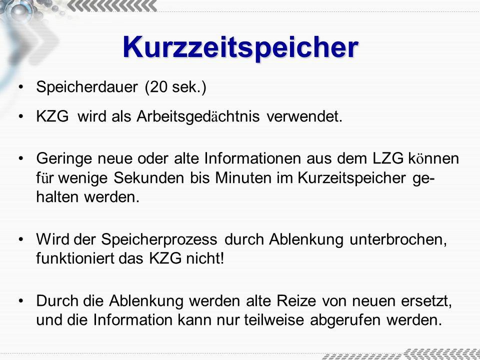 Kurzzeitspeicher Speicherdauer (20 sek.)