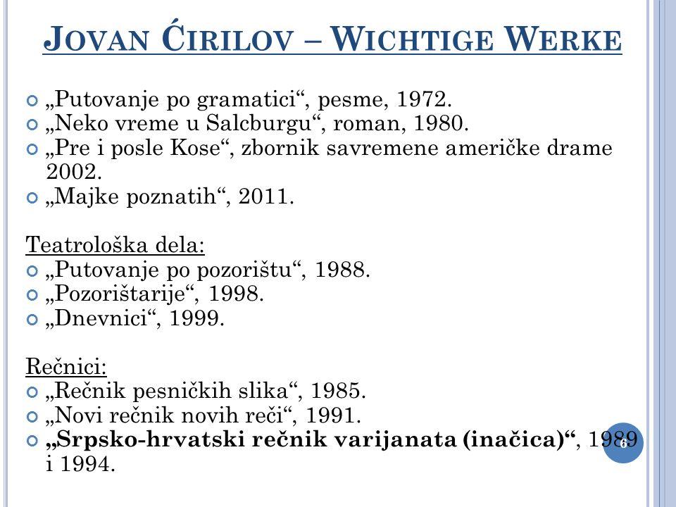 Jovan Ćirilov – Wichtige Werke