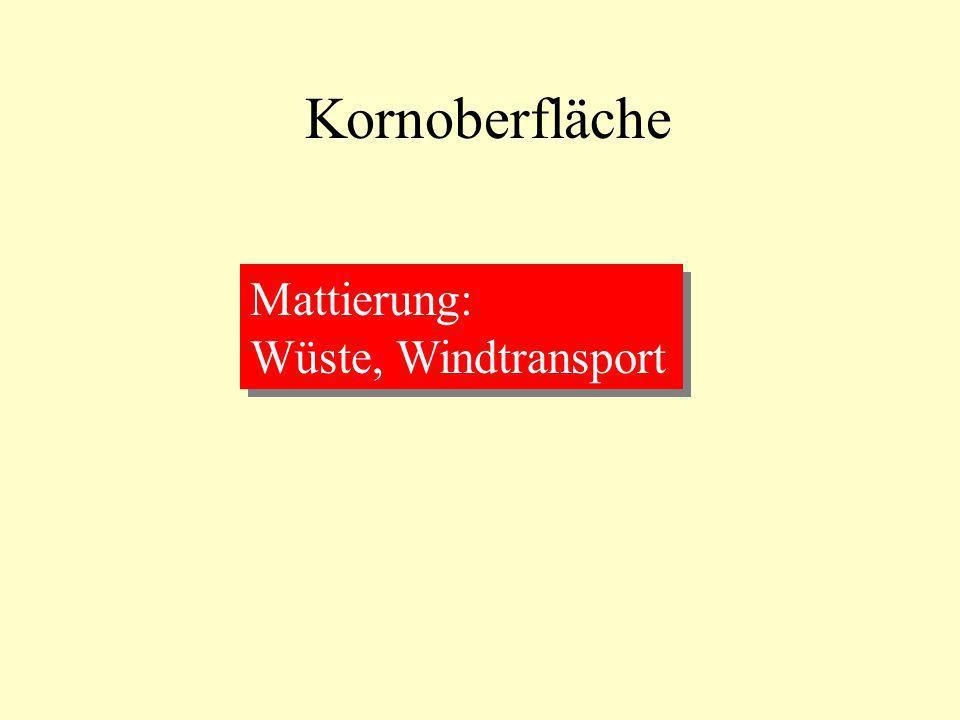 Kornoberfläche Mattierung: Wüste, Windtransport