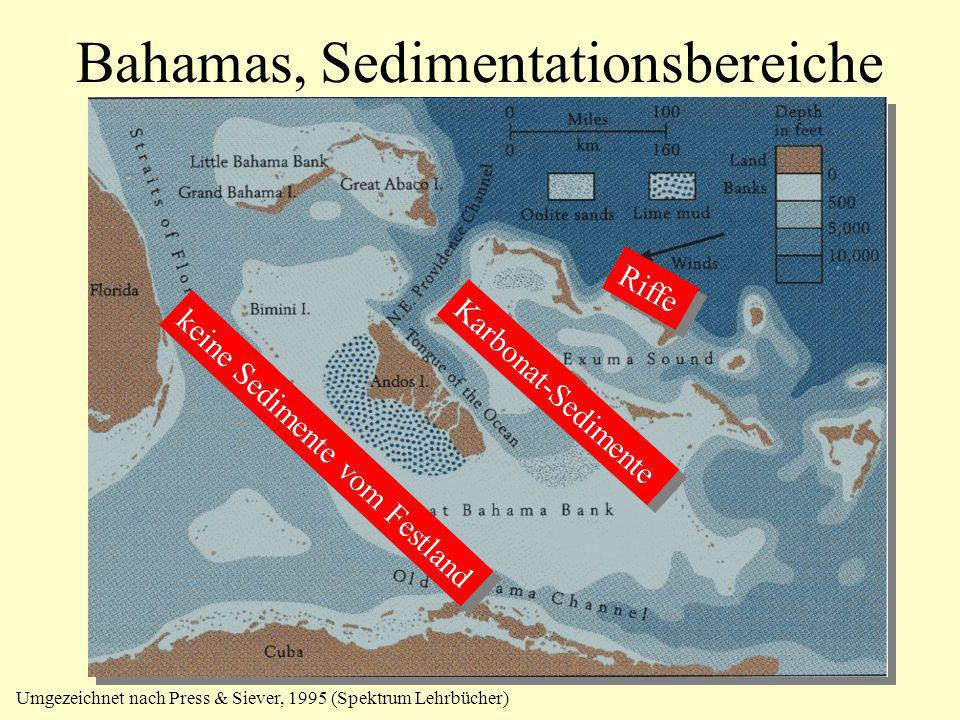 Bahamas, Sedimentationsbereiche