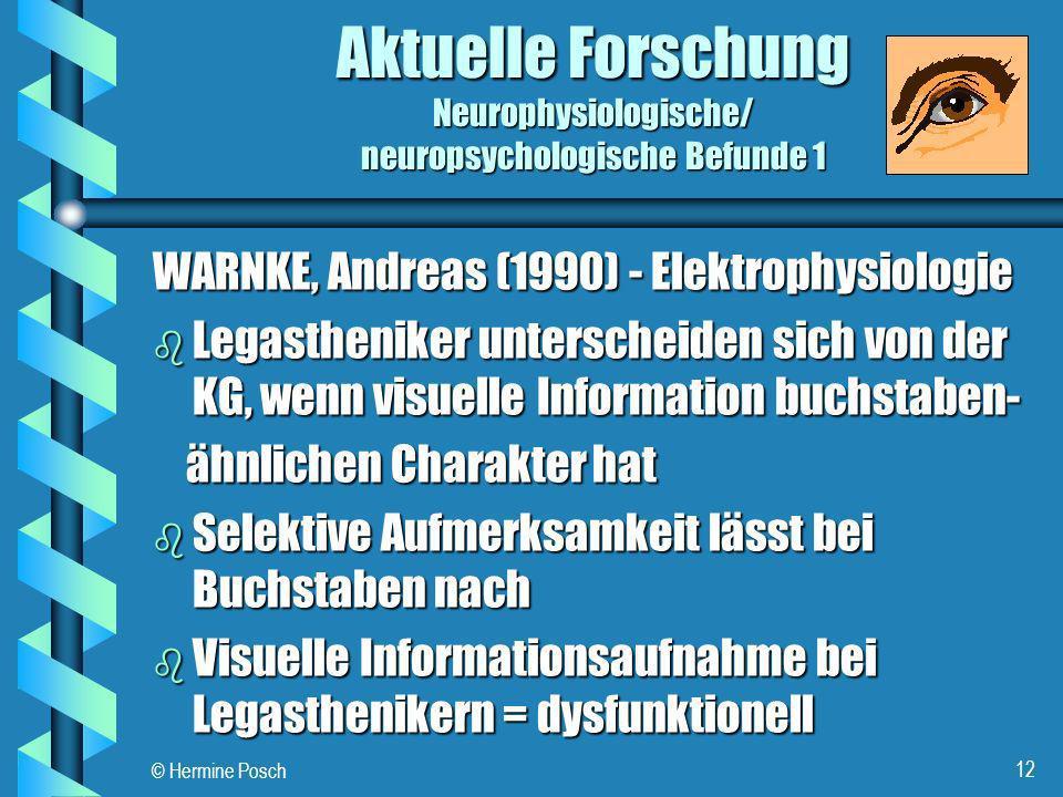 Aktuelle Forschung Neurophysiologische/ neuropsychologische Befunde 1