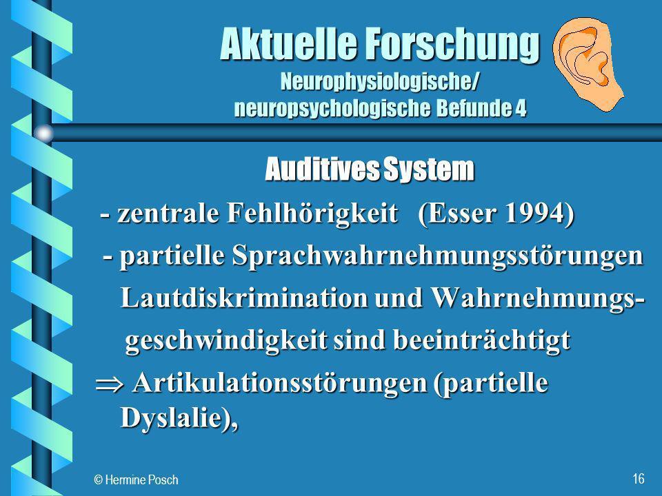 Aktuelle Forschung Neurophysiologische/ neuropsychologische Befunde 4