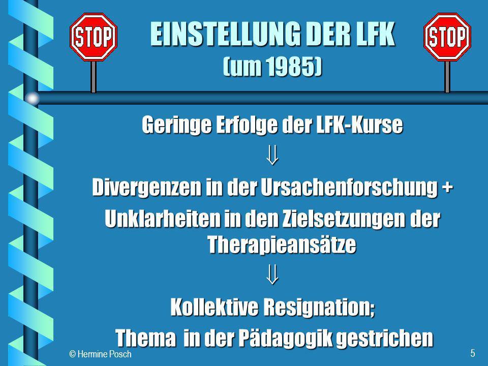 EINSTELLUNG DER LFK (um 1985)