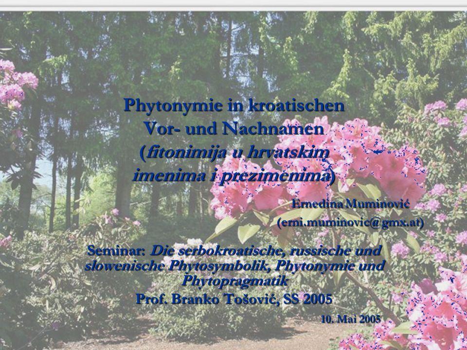 Phytonymie in kroatischen Vor- und Nachnamen (fitonimija u hrvatskim imenima i prezimenima) Ernedina Muminović (erni.muminovic@gmx.at)