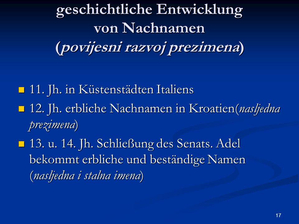 geschichtliche Entwicklung von Nachnamen (povijesni razvoj prezimena)