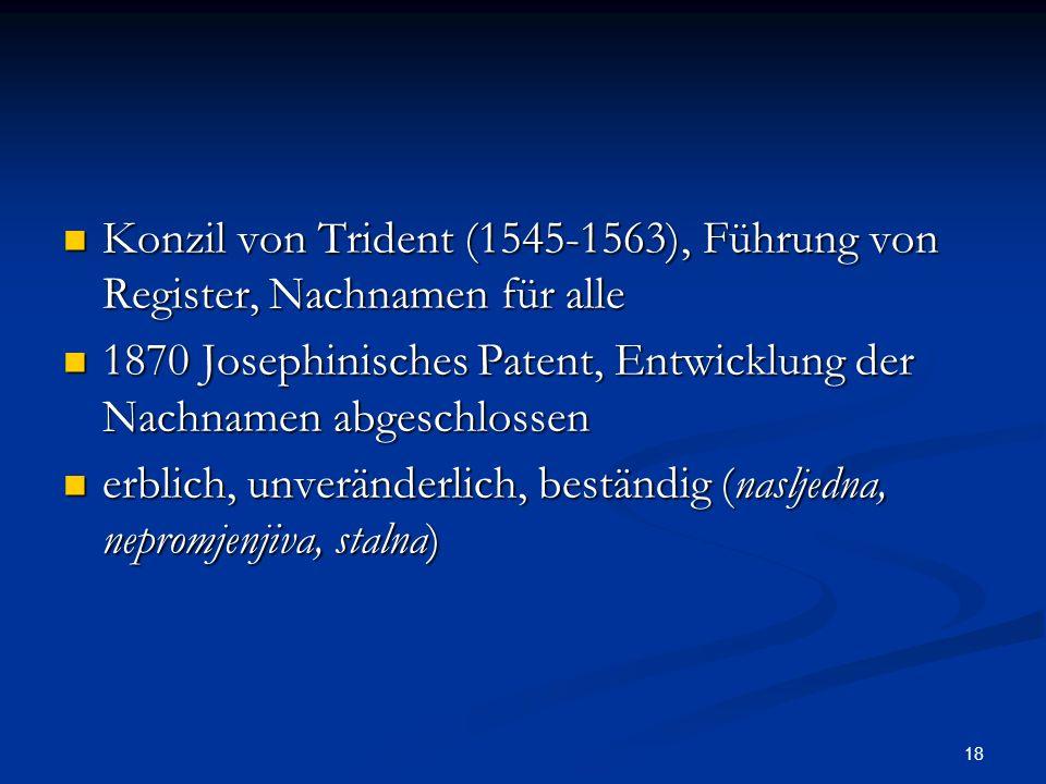 Konzil von Trident (1545-1563), Führung von Register, Nachnamen für alle