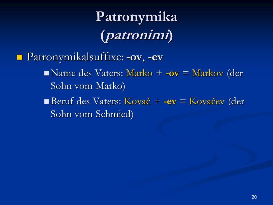 Patronymika (patronimi)