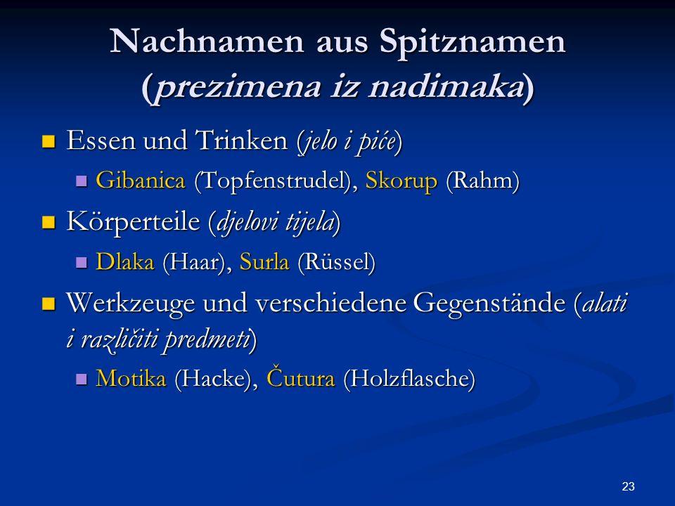 Nachnamen aus Spitznamen (prezimena iz nadimaka)