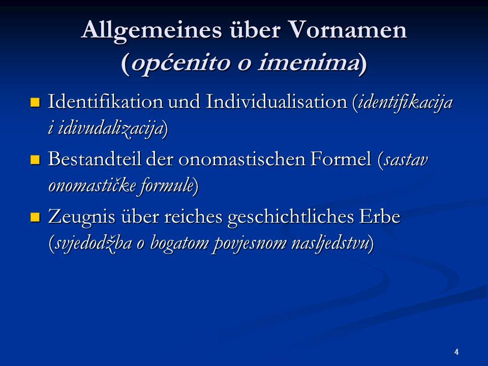 Allgemeines über Vornamen (općenito o imenima)