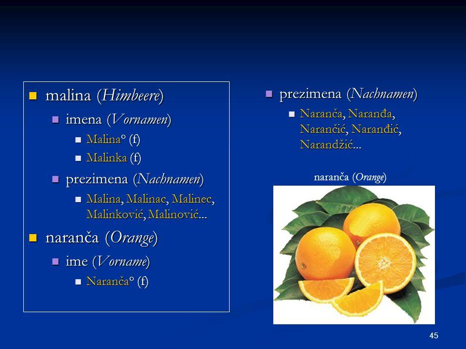 malina (Himbeere) naranča (Orange) prezimena (Nachnamen)