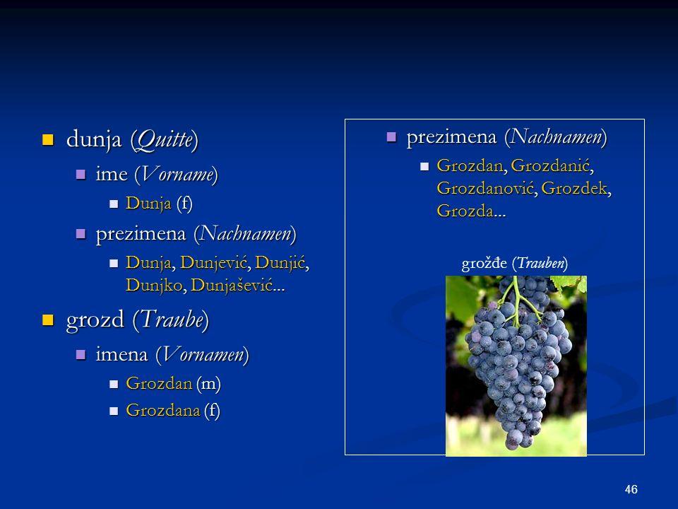 dunja (Quitte) grozd (Traube) prezimena (Nachnamen) ime (Vorname)
