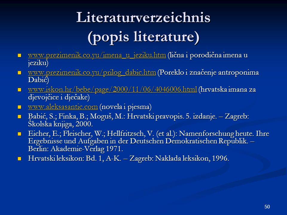Literaturverzeichnis (popis literature)