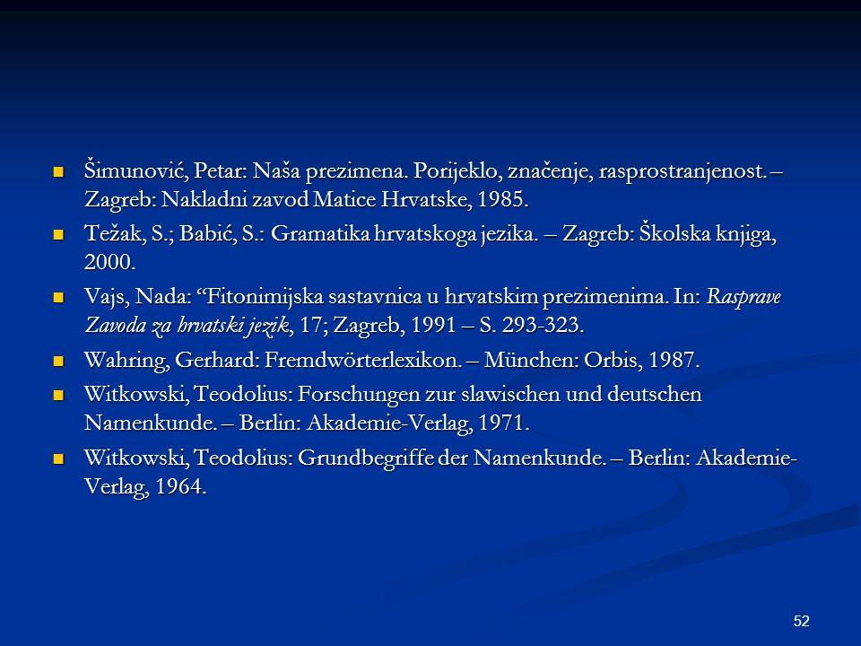 Šimunović, Petar: Naša prezimena