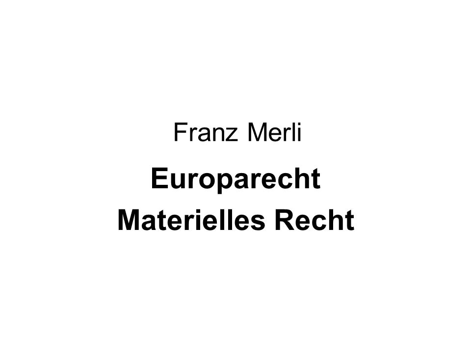 Europarecht Materielles Recht
