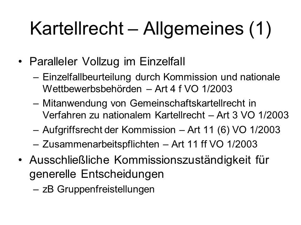 Kartellrecht – Allgemeines (1)
